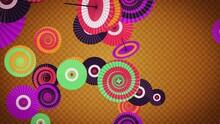カラフルな和傘の雅で華やかな和アブストラクト 金背景 ループ