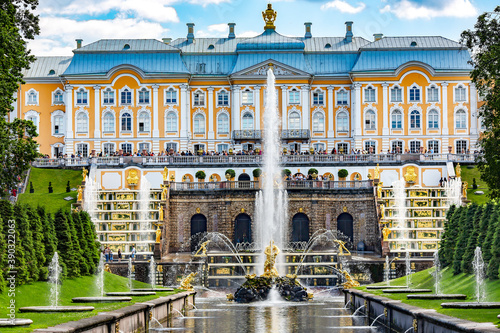 RUSSIA, ST.PETERSBURG, PETERHOF, JULY, 2016 - Grand Cascade Fountains in Peterhof Palace. The Peterhof palace included in the UNESCO.