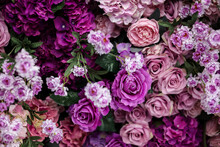 Closeup Image Of Beautiful Flowers Wall Background With Amazing Colorful Roses. Top View