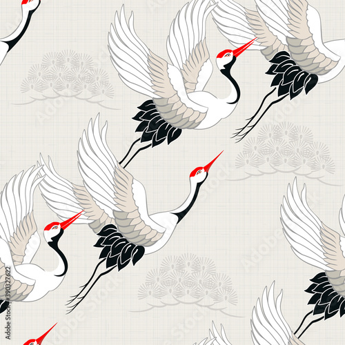 Fototapeta premium Seamless pattern with birds. Royal Crane. Ornament with oriental motifs. Vector.