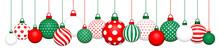 Banner Hängende Weihnachtskugeln Muster Rot Grün Weiß