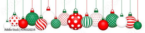 Banner Hängende Weihnachtskugeln Muster Rot Grün Weiß Fototapet