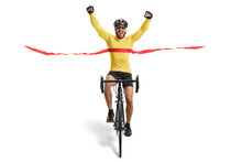 Male Cyclist Finishing A Race And Gesturing Happiness