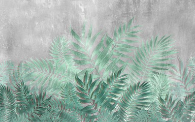 Panel Szklany Do sypialni Drawing of tropical leaves in the style of wall plaster in turquoise tones.