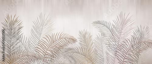 Fototapeta Tropical palm leaves. Beige leaves on a light background. Mural, Wallpaper for internal printing. obraz