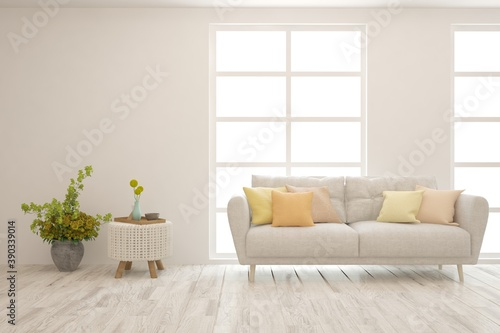 Fototapeta White living room with sofa. Scandinavian interior design. 3D illustration obraz na płótnie