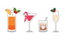Festive Cocktails - Set Of Vector Illustrations. Isolated, Layered And Editable.