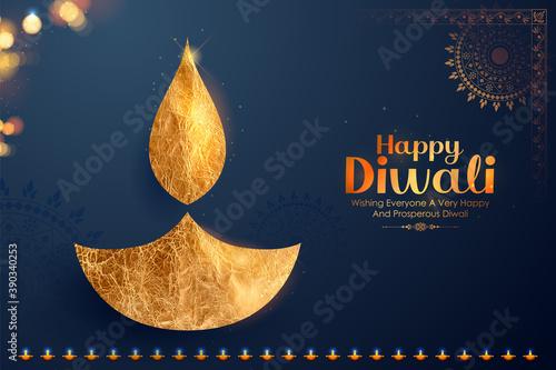 Papel de parede illustration of decorative burning oil diya on Happy Diwali Holiday background f