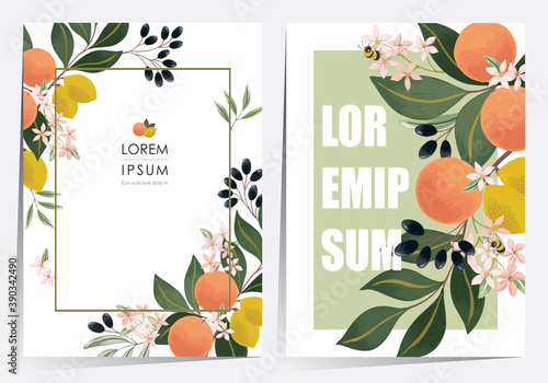 Foto Vector illustration of a beautiful floral frame set with fruits