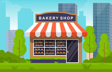 Showcase Bakery Shop Food Store Facade City Cartoon Illustration