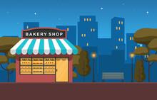 Showcase Bakery Shop Food Store Facade Night Cartoon Illustration
