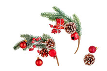 Christmas Fir Tree  Branch With Snow And  Red Berries On White Background.