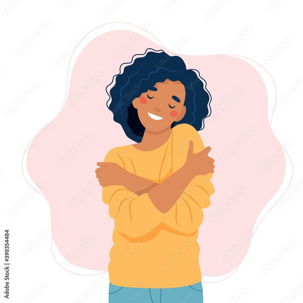 Fototapeta Self love concept, woman hugging herself, vector illustration in flat style