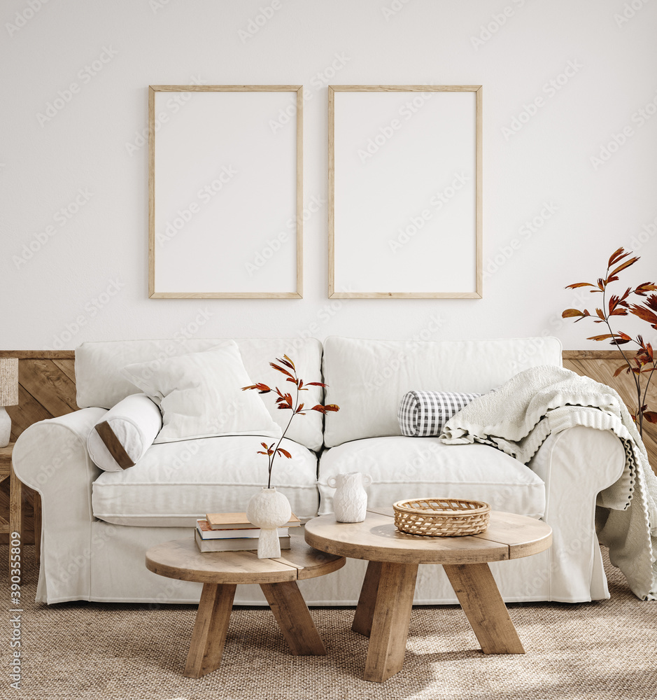 Fototapeta Mockup frame in farmhouse living room interior, 3d render