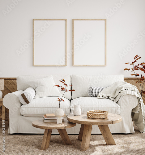 Fototapeta Mockup frame in farmhouse living room interior, 3d render obraz