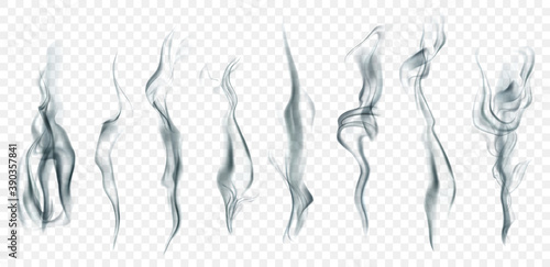 Set of several realistic transparent smoke or steam in white and gray colors, for use on light background. Transparency only in vector format