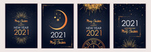 2021 New Year. Fireworks, Golden Garlands, Sparkling Particles. Set Of Christmas Sparkling Templates For Holiday Banners, Flyers, Cards, Invitations, Covers, Posters. Vector Illustration.
