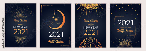 Obraz 2021 new year. Fireworks, golden garlands, sparkling particles. Set of Christmas sparkling templates for holiday banners, flyers, cards, invitations, covers, posters. Vector illustration. - fototapety do salonu