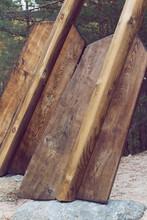 Brown Wooden Boat Oars