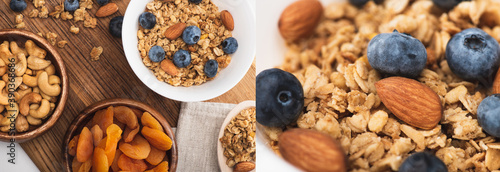 Fotografiet collage of delicious granola with nuts,dried apricots and blueberry on wooden bo