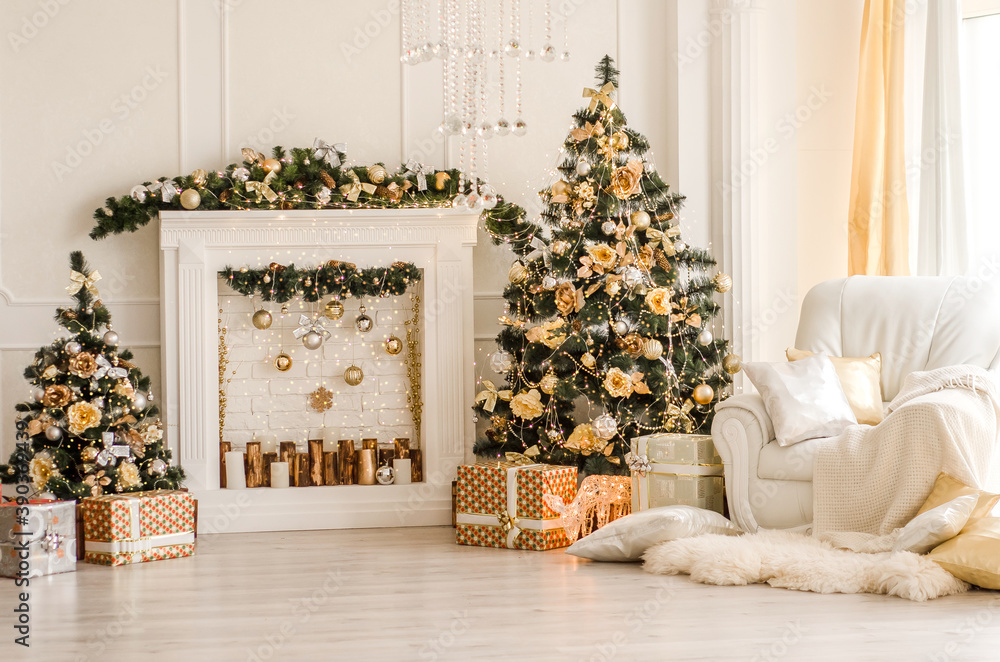 Fototapeta New Year decorated white interior - bright room with Christmas decoration - fir-tree, white pedestal, white armchair and hide rug - holiday room interior