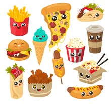 Cute Funny Fast Food Character Set, Flat Vector Illustration. Happy Cartoon Burger, Shawarma, French Fries, Coffee, Hot Dog, Pizza, Chicken Legs, Popcorn, Wok, Ice Cream Cone With Human Faces.