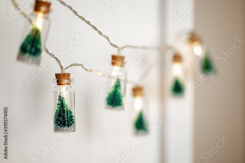 Christmas Tree Glass Jar Bottle String Lights with little Christmas trees inside bulbs