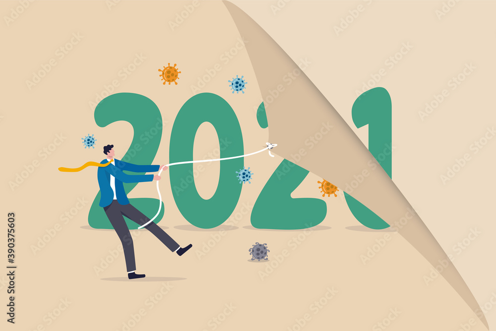 Fototapeta Year changing to 2021 from 2020 Coronavirus COVID-19 outbreak, the worst year of world health care and economic concept, man pulling to change calendar healthy new year with coronavirus pathogen.