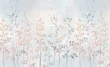 Watercolor field grass. Hand-drawn plants. For interior printing, mural art. - 390383613