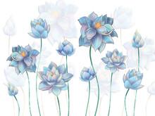 Digital Illustration Of Pale Blue Lotus Flowers On White Background. Mural, Mural Mural For Interior Printing.