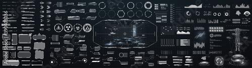 Fotografia Sci-fi futuristic hud dashboard display virtual reality technology screen