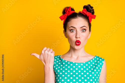 Close-up portrait of pretty amazed girl showing copy space pout plump red lips i Canvas