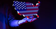 Leinwandbild Motiv america map flag nation us stars and stripes