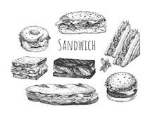 Hand Drawn Sketch Sandwiches Set