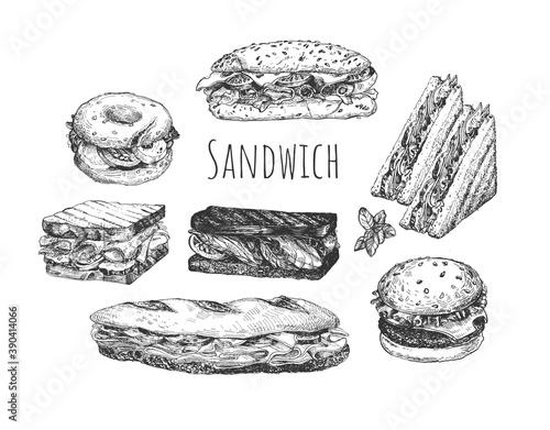 Tela Hand drawn sketch sandwiches set