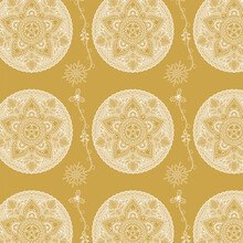 Beautiful Christmas Mandala Seamless Pattern - Hand Drawn And Detailed, Great For Christmas Textiles, Banners, Wrappers, Wallpapers - Vector Surface Design