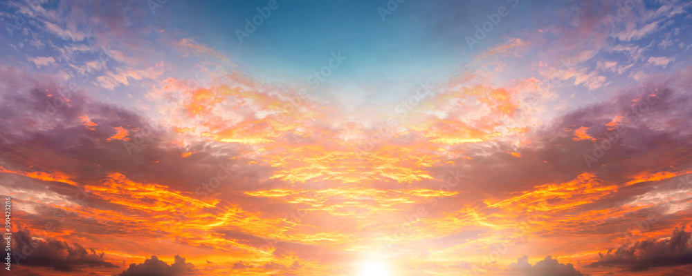 Fototapeta dramatic twilight sky and cloud sunset background