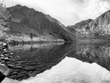 Convict Lake Black And White Reflection High Sierra California USA