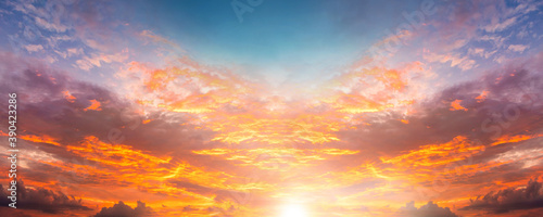 dramatic twilight sky and cloud sunset background
