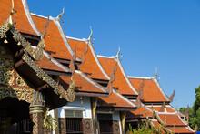 Thailand Wat Ket Karem Roofs, Red With Dragon Motifs