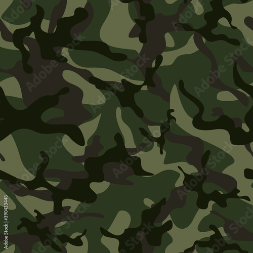Military green camouflage vector seamless pattern Billede på lærred