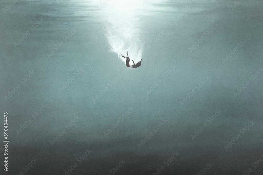 Fototapeta illustration of woman falling underwater, surreal concept