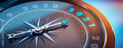 Fototapeta Dunkler Kompass mit Lichtspiel - 2021 obraz