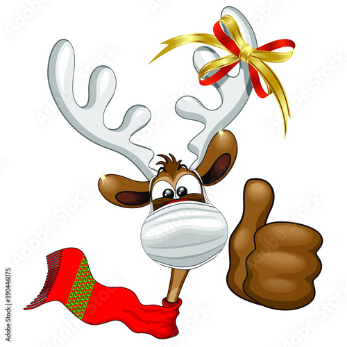 Reindeer Christmas Character with Face Mask, smiling under the Mask - Vector illustration isolated on White.   #390446075