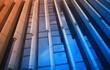 canvas print picture - Blue & orange concrete & glass architecture background