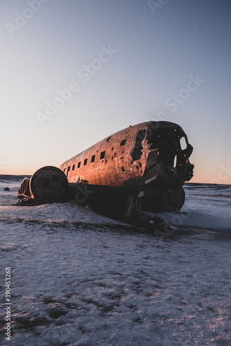The wreckage of a plane in Iceland. Douglas Super DC-3 Dakota Wallpaper Mural