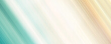 Turquoise Green, Beige, Orange Diagonal Strips. Abstract Panoramic Background With Soft Gradient. Pastel Colored Speed Lines. Blurry Surface. Modern Design For Web Banner, Landing Page, Invitation