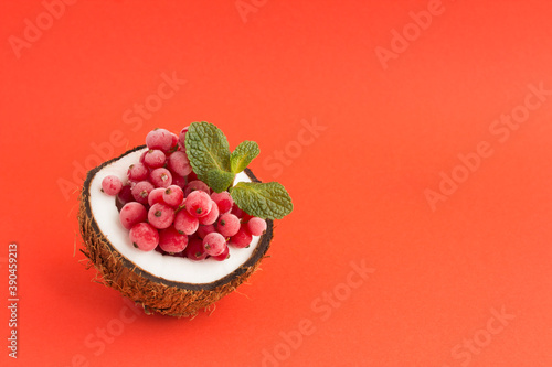 Photo Frozen red currants in half coconut on the red  background with copy space