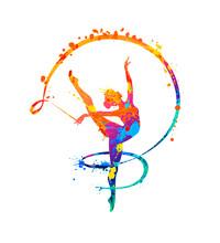Rhythmic Gymnastics Girl With Ribbon. Dancer Silhouette