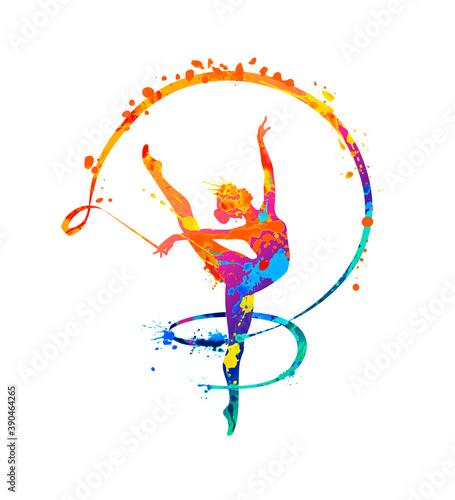 Fotografering Rhythmic gymnastics girl with ribbon. Dancer silhouette